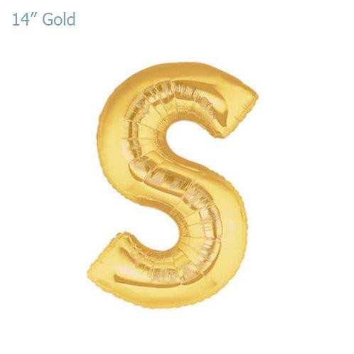 """14"""" Gold S Foil Letter Balloon"""