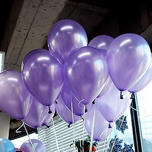 10 Pcs Light Purple Metallic Latex Balloons