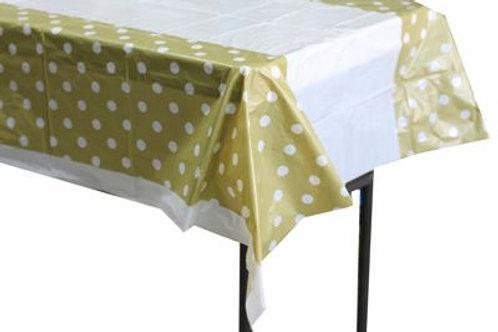 Gold Polka Dot Plastic Table Cover