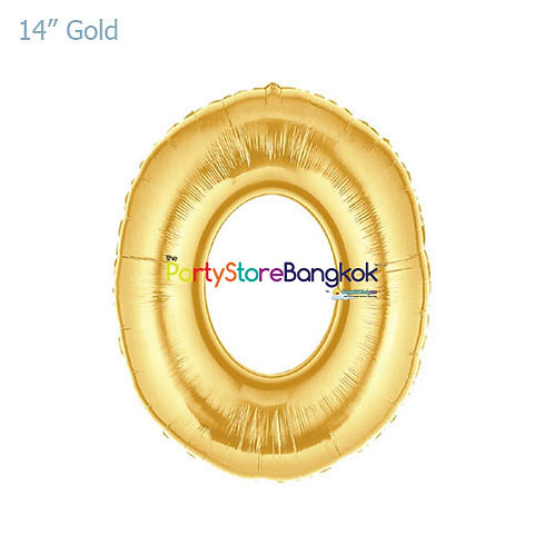"""14"""" Gold Number 0 Foil Balloon"""