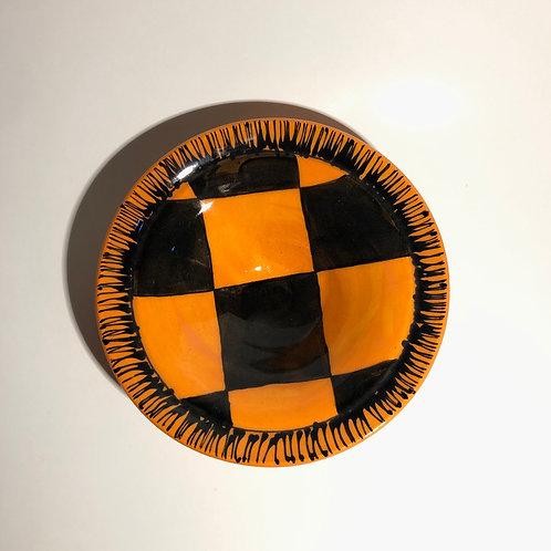 Orange & Black Checkerboard Bowl