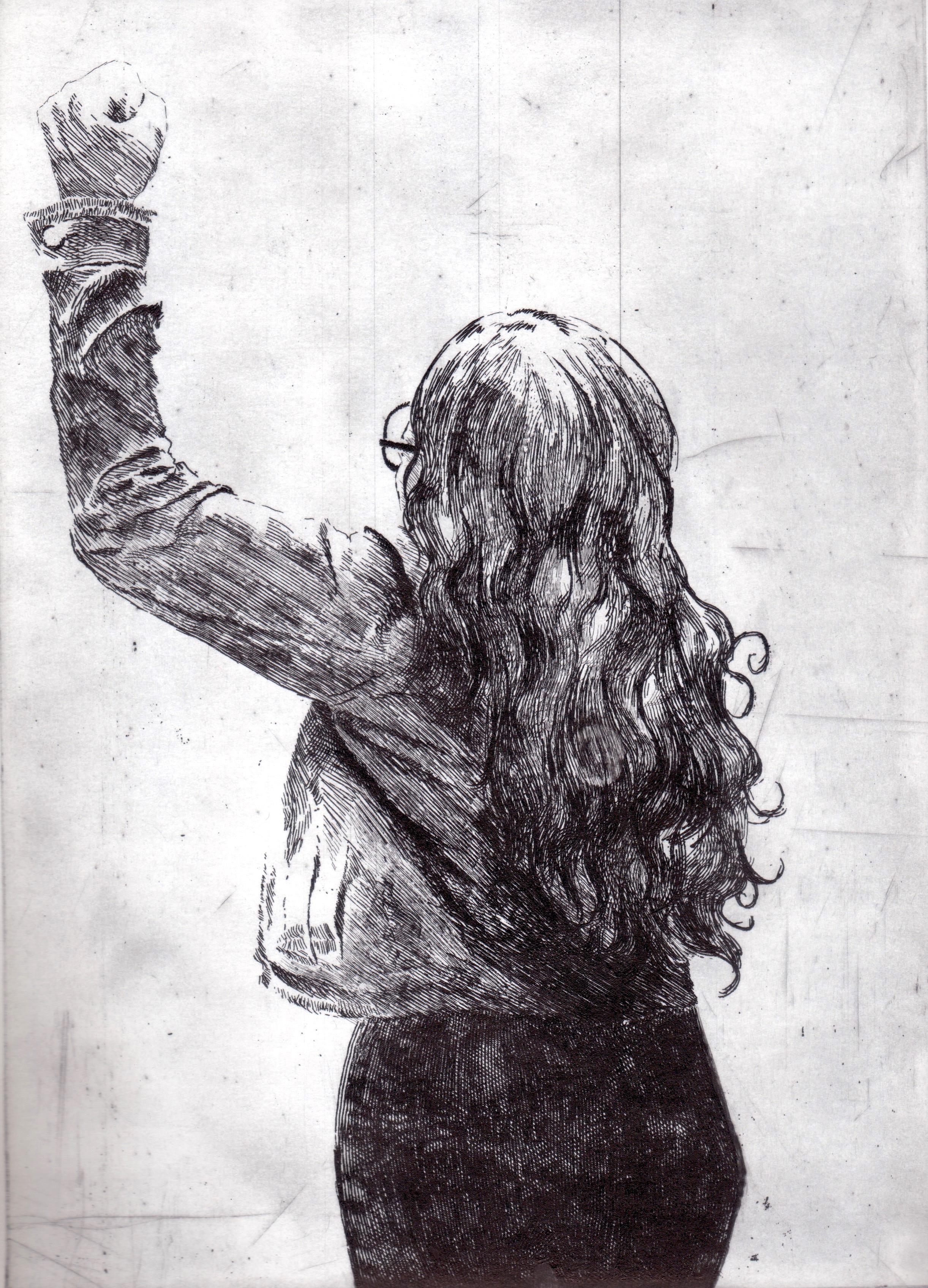 """Caminando Libre"", Aguafuerte"