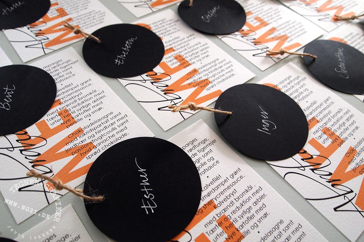 bordkort + menukort til bryllup