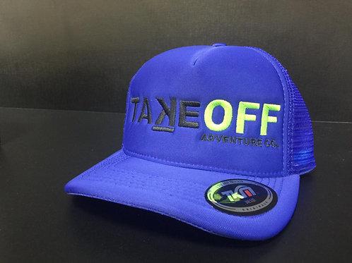 Boné TakeOFF Adventure Co. modelo Trucker Americano bordado