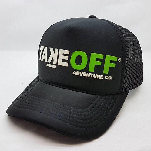 Boné TakeOFF Adventure Co. modelo Trucker Americano emborrachado