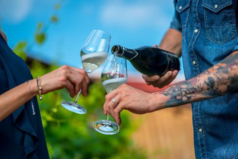 Valdobbiadene bicchieri di vino spumante
