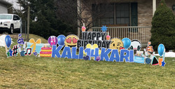 14th birthday yard card display with lots of color and fun celebration for Kari and Kali