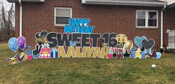 Sweet 16 birthday yard card display lawn letters with color and fun celebrations