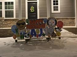 Birthday yard card display for AJ in North Huntingdon, PA with Pittsburgh sports