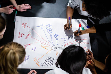 A big piece of white paper on the floor with  consent written in the middle with a circle around it. A group of women are writing on the paper, making a spider diagram.