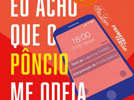 Texto inédito de Cupertino Freitas é encenado por Priscila Queiroz nesta terça (27)