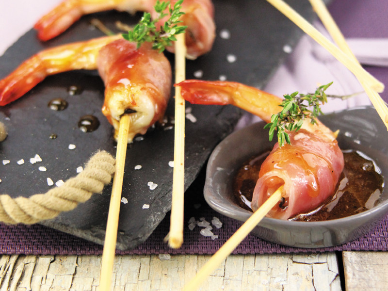 Prawns skewers grilled
