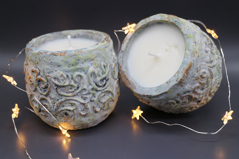 Rustic Stone Pot Candle