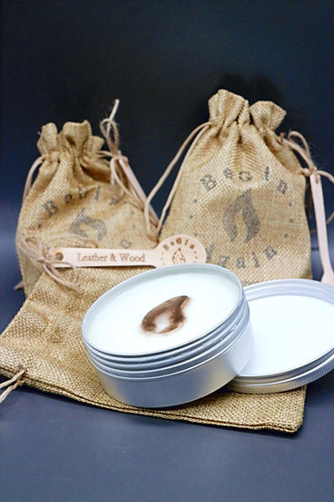 Leather & Wood Wax Melt Tin & Spoon