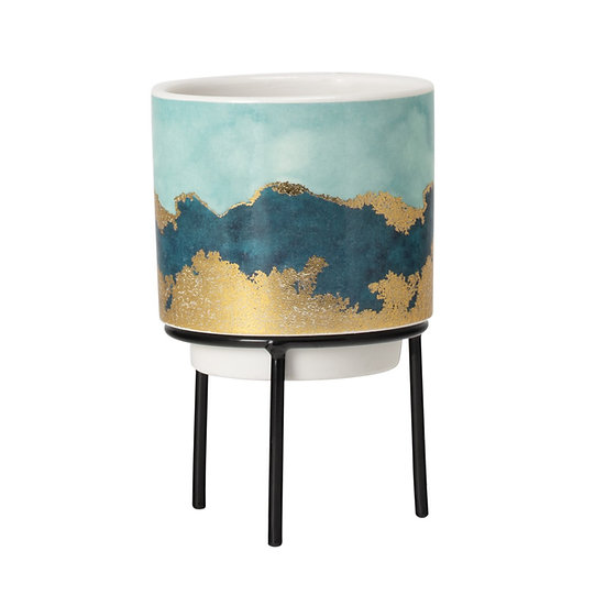 GILDED AGATE CERAMIC DROP POT PLANTER ON STAND