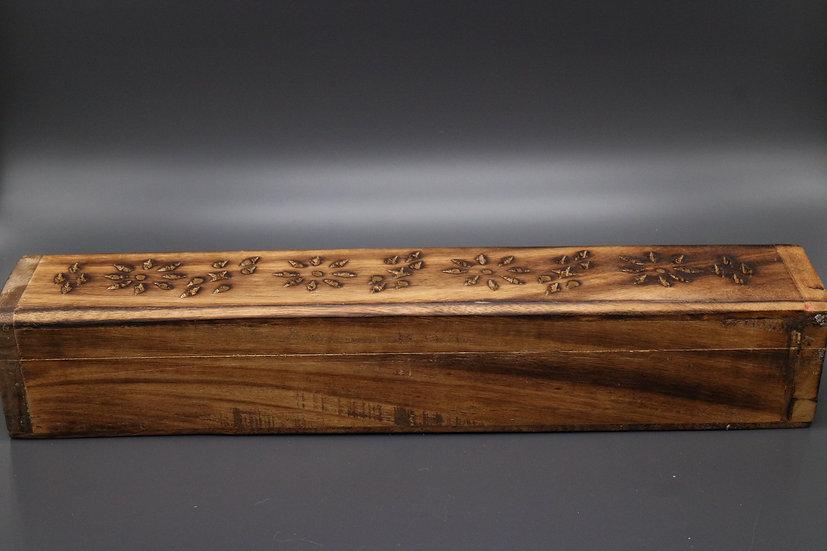 Wooden Incense Holder Box & Incense Sticks
