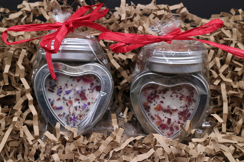 Floral Candle & Strawberry Lip Balm Gift Set
