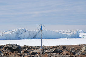 vertical axis wind turbine installed at the South Pole