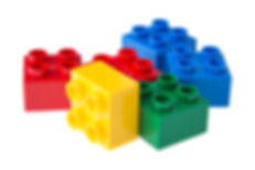 Plastic building blocks isolated on whit