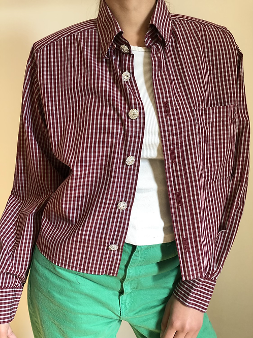 Reworked burgundy vintage authentic Dior men shirt with white stripes