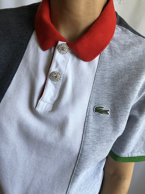 Reworked grey second hand Lacoste t-shirt - L