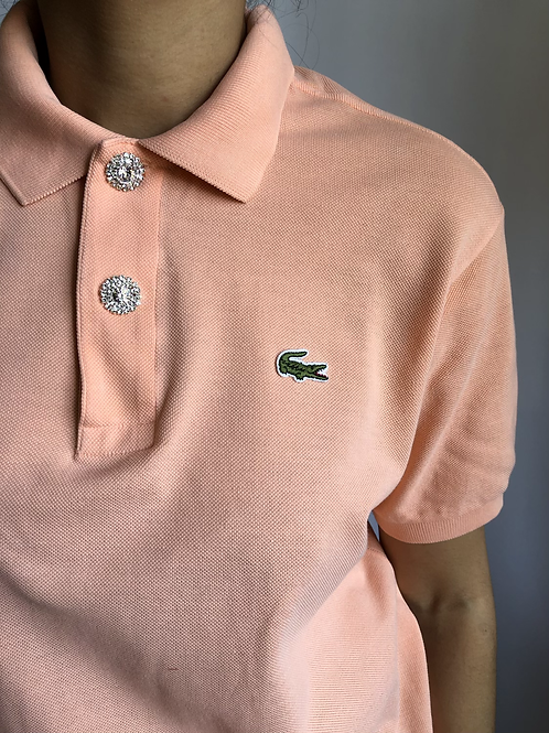 Reworked peach second hand Lacoste t-shirt - L