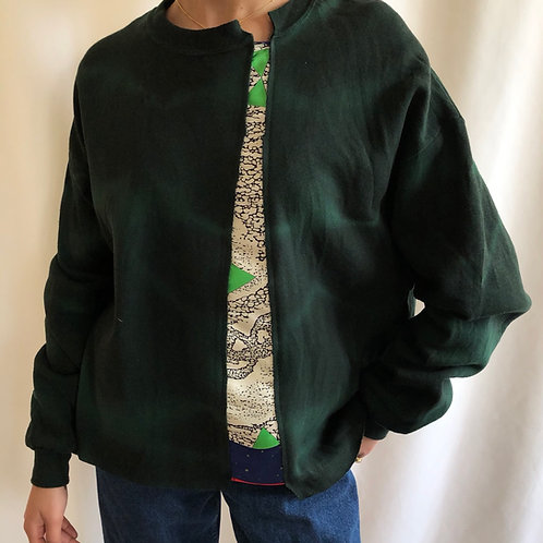 Bleached green sweatshirt reworked with Celine scarf - M/L