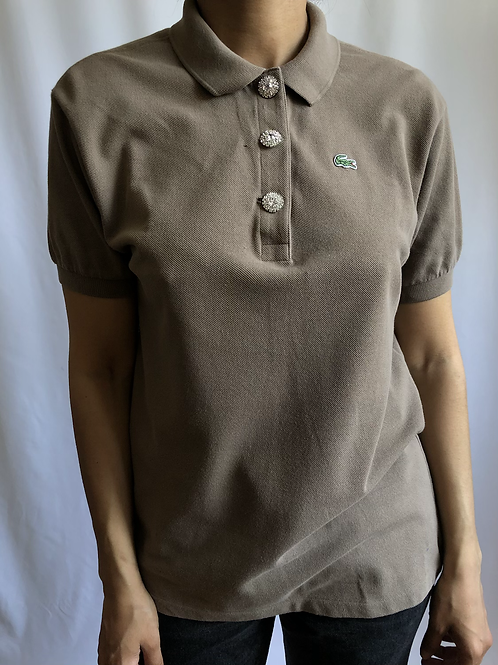 Reworked tobacco second hand Lacoste t-shirt - M