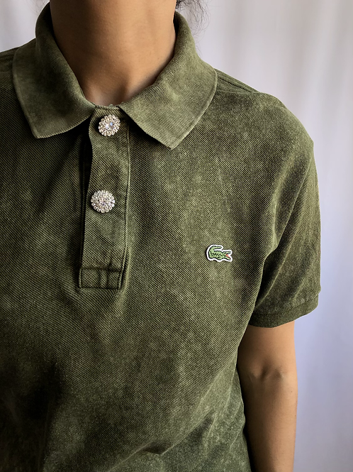 Bleached green and beige second hand Lacoste polo - L