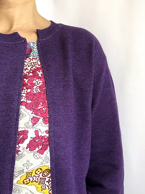 Purple vintage sweatshirt reworked with authentic Louis Vuitton scarf