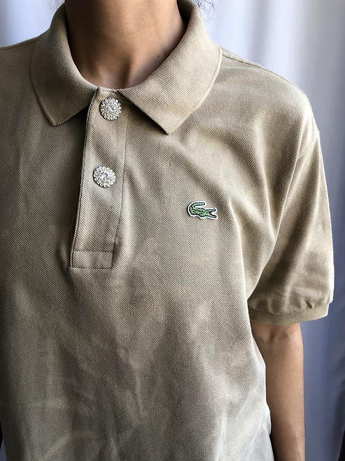 Bleached beige second hand Lacoste polo - XL