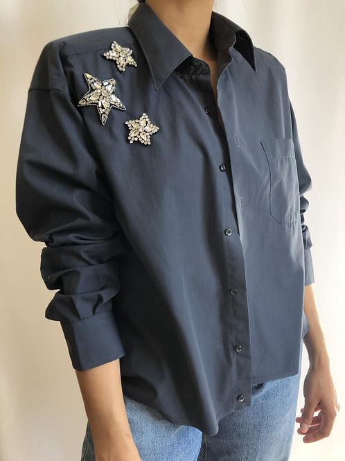 Reworked dark blue vintage authentic Dior men shirt with thin stripes