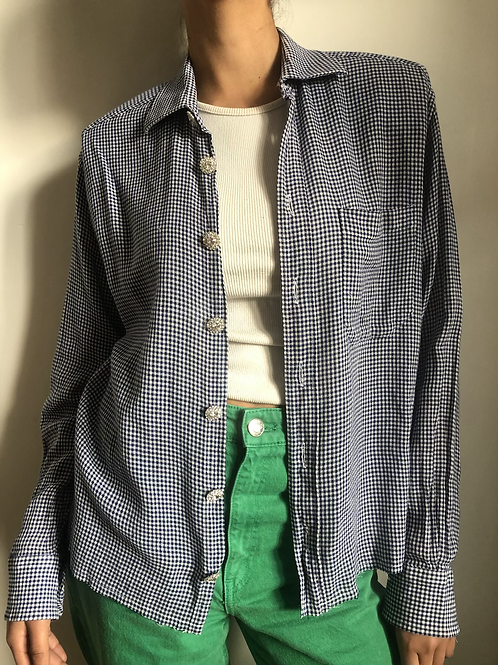 Reworked white and blue vintage authentic Dior men shirt