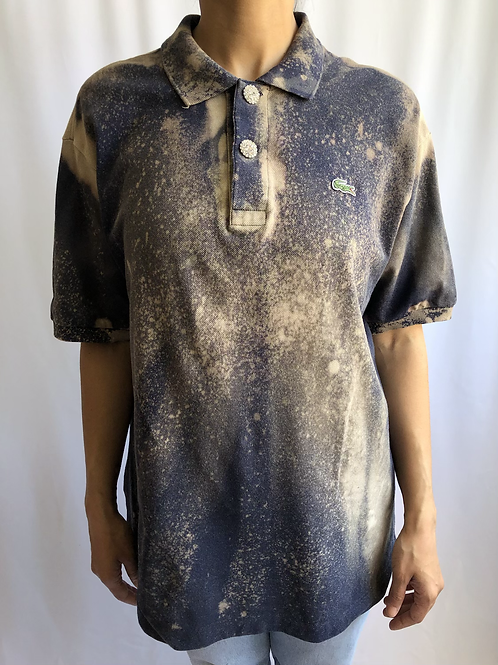 Bleached dark blue and beige second hand Lacoste polo - XXL