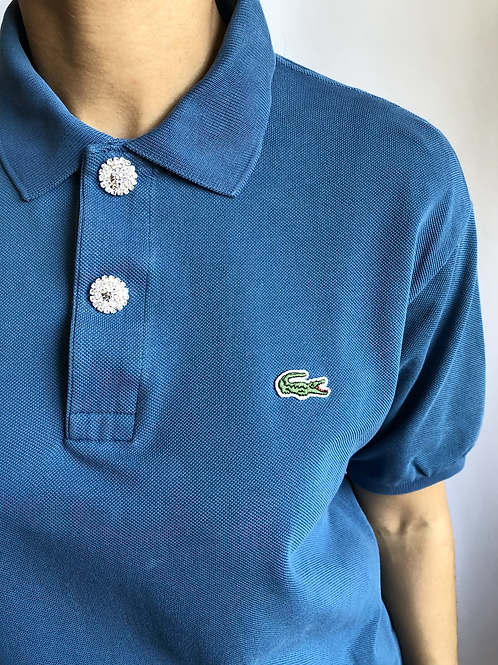 Reworked blue second hand Lacoste t-shirt - M