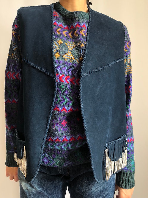 Vintage blue sleeveless suede jacket with crystal fringes