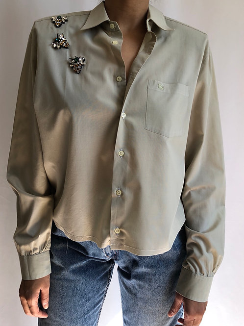Reworked beige vintage authentic Dior men shirt