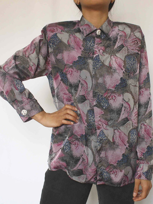 Reworked printed silk vintage authentic Dior men shirt