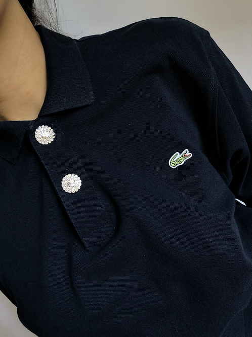 Reworked blue second hand Lacoste t-shirt - L