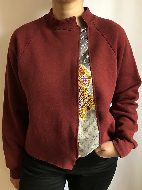 Burgundy vintage sweatshirt reworked with authentic Louis Vuitton scarf