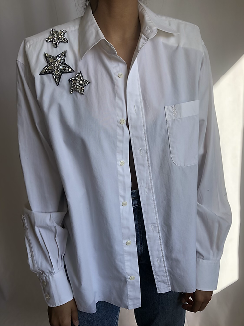 Reworked white vintage authentic Yves Saint Laurent men shirt