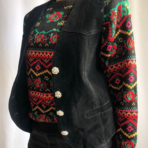 Vintage black sleeveless suede jacket with crystal buttons