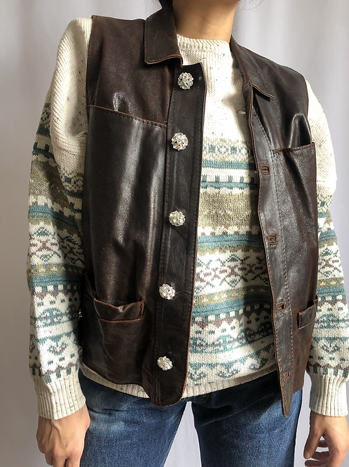 Vintage brown sleeveless leather jacket with crystal buttons