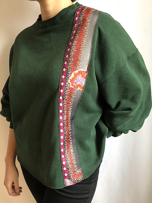 Military green vintage sweatshirt reworked with authentic Louis Vuitton