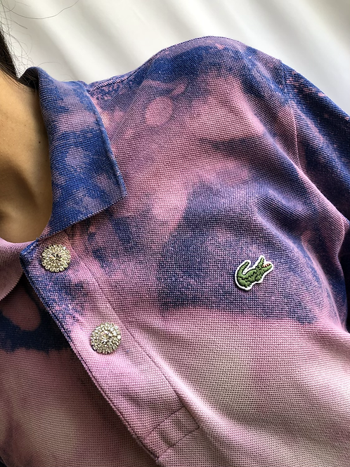Bleached blue and purple second hand Lacoste polo - XXL
