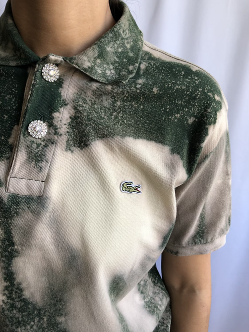 Bleached green and beige second hand Lacoste polo - XL