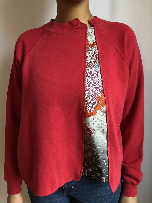 Pink vintage sweatshirt reworked with authentic Louis Vuitton scarf - S