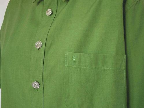 Reworked pistachio vintage authentic  Yves Saint Laurent men shirt