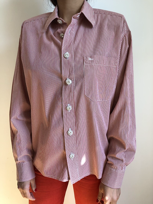 Reworked red vintage authentic Dior men shirt with white stripes