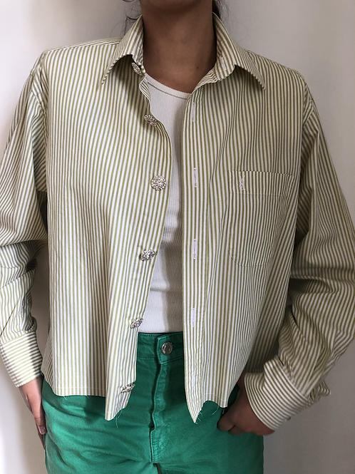 Reworked white vintage authentic Yves Saint Laurent men shirt with stripes